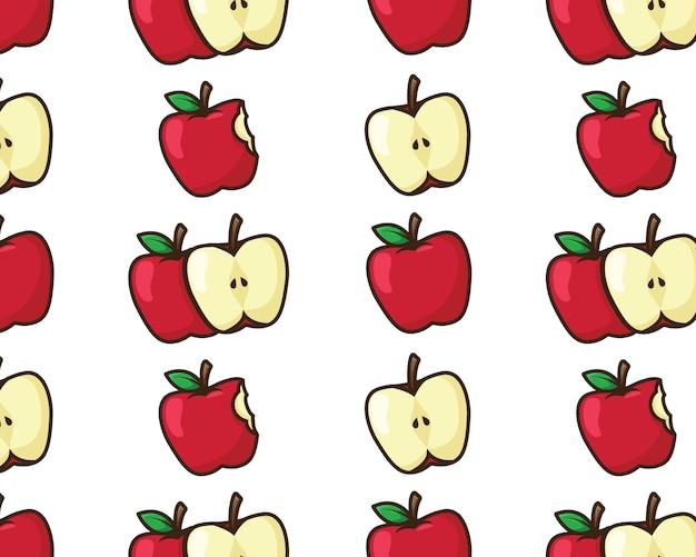 Patrón sin costuras manzana roja