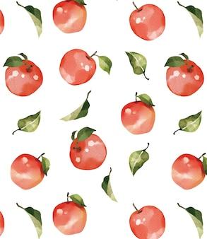 Patrón sin costuras de manzana roja