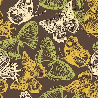 Patrón sin costuras de mariposa