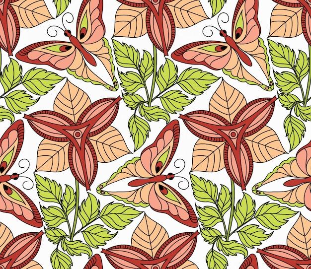 Patrón sin costuras con mariposas y flores