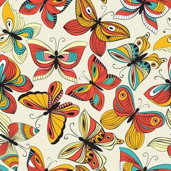 Patrón sin costuras con mariposas