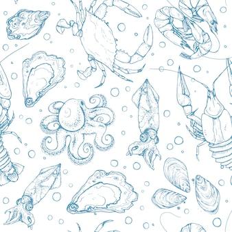 Patrón sin costuras de mariscos