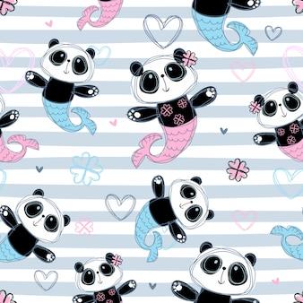 Patrón sin costuras mermaid panda en diseño a rayas.