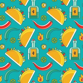 Patrón sin costuras mexicano con símbolos tradicionales como taco y tequila