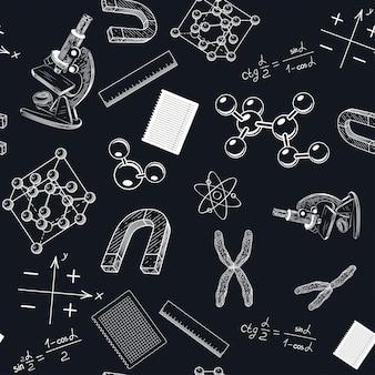 Un patrón sin costuras con un microscopio y cromosomas.