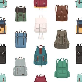 Patrón sin costuras con mochilas o mochilas de diferentes modelos y tamaños.
