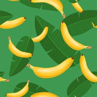 Patrón sin costuras de moda con racimo de plátano realista y hojas tropicales