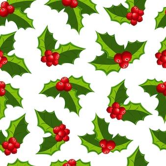 Patrón sin costuras de muérdago rojo de navidad