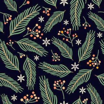 Patrón sin costuras de navidad con elementos estacionales dibujados a mano