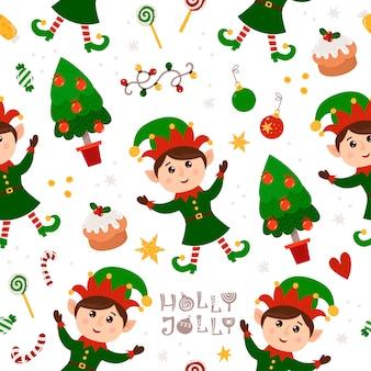 Patrón sin costuras de navidad con gnomo y árbol de navidad