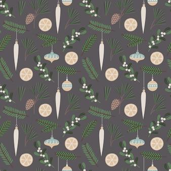 Patrón sin costuras de navidad ilustración floral de vector con símbolos tradicionales de vacaciones