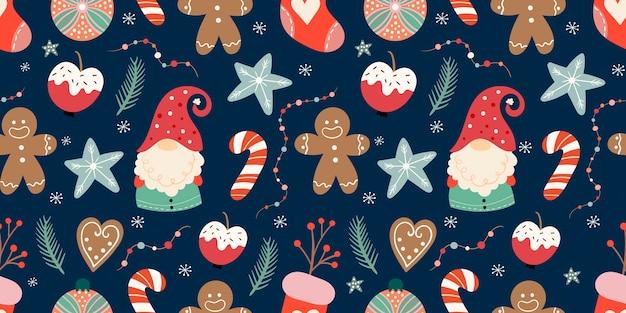Patrón sin costuras de navidad con lindos gnomos