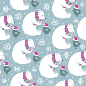 Patrón sin costuras de navidad con osos polares y pajaritos