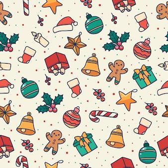 Patrón sin costuras de navidad con personajes festivos