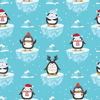 Patrón sin costuras de navidad con pingüino en témpano de hielo