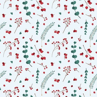 Patrón sin costuras de navidad con plantas de invierno.
