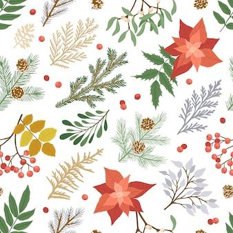 Patrón sin costuras de navidad con plantas de invierno