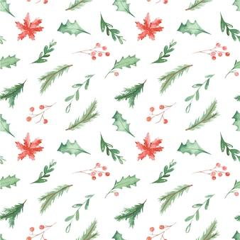 Patrón sin costuras de navidad con ramas de abeto, bayas, hojas de flores y acebo