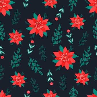 Patrón sin costuras de navidad sobre fondo negro con flores de poinsettia, ramas de pino y bayas. antecedentes