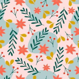 Patrón sin costuras de navidad sobre fondo rosa con flores de poinsettia, ramas de pino y bayas. antecedentes