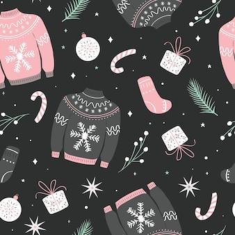 Patrón sin costuras de navidad con suéter feo.