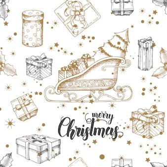 Patrón sin costuras de navidad con trineo de santa dibujado a mano
