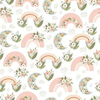 Patrón sin costuras para niños con arco iris de primavera y flores en colores pastel.