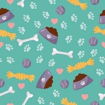 Patrón sin costuras objetos para el cuidado del perro: cuenco con comida para perros, juguetes y huesos.