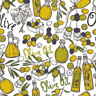Patrón sin costuras de oliva