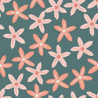 Patrón sin costuras orgánico con elementos de mandarina de flores rosadas