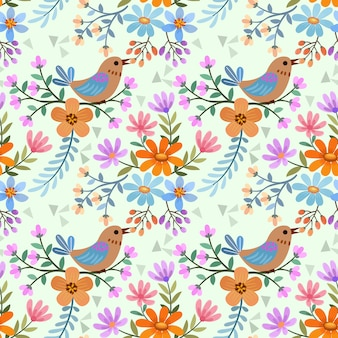 Patrón sin costuras pájaro y flores