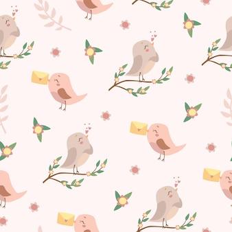 Patrón sin costuras de pájaros enamorados