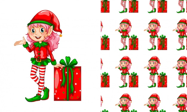Patrón sin costuras para papel tapiz, con caja de regalo y duende
