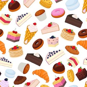 Patrón sin costuras de pastelería dulce