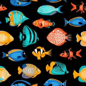 Patrón sin costuras de peces tropicales