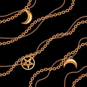 Patrón sin costuras con pentagramas y colgantes lunares en una cadena metálica dorada