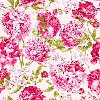 Patrón sin costuras con peonías rosas