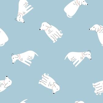 Patrón sin costuras perros lindos coloridos sobre fondo claro. ilustración vectorial