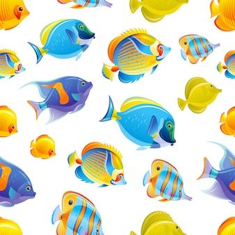 Patrón sin costuras de pescado fondo de mar tropical. conjunto de acuarela océano. diseño de animales bajo el agua. ilustración de dibujos animados lindo de peces de arrecife de coral.