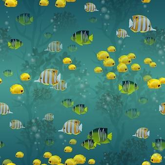 Patrón sin costuras de pescado