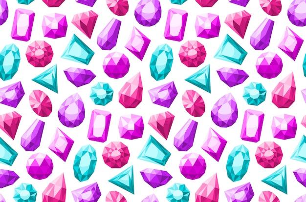 Patrón sin costuras piedras preciosas