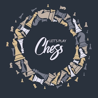Patrón sin costuras con piezas de ajedrez.