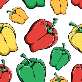 Patrón sin costuras de pimiento morrón rojo, verde, amarillo y naranja con han de color