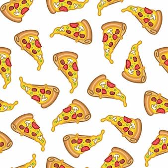 Patrón sin costuras de pizza en estilo de línea plana diseño moderno