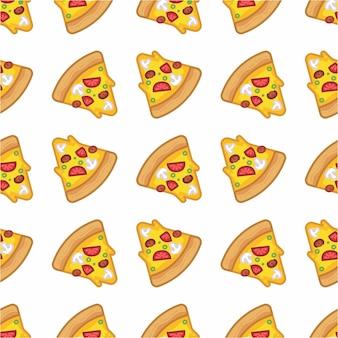 Patrón sin costuras de pizza en estilo línea plana moderna