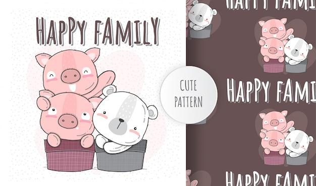 Patrón sin costuras plana lindo animal feliz cerdo familia