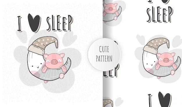Patrón sin costuras plana lindo cerdo durmiendo en la luna