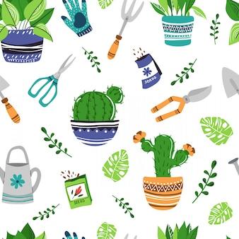 Patrón sin costuras - plantas de maceta, herramientas de jardín