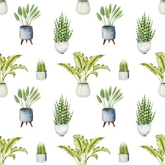 Patrón sin costuras con plantas en macetas de acuarela