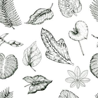 Patrón sin costuras de plantas tropicales